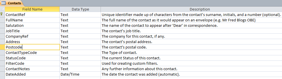 Microsoft Access Contact Management: All tables, fields and relationships for our database (2010 Version).