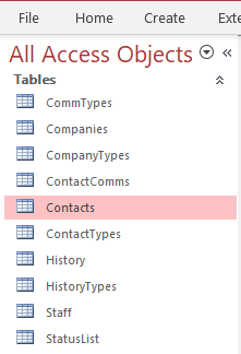 The Access Objects pane window.