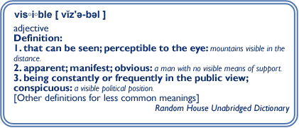 Definition of the word visible.