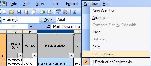 excel freezepanes