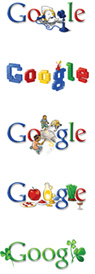 Various versions of the Google logo